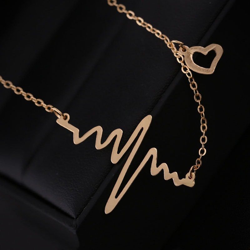 Chic Wave Heart Gold/Silver Charm Necklace