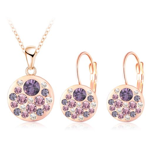 Austrian Crystal Rose Gold Plated Round Style Pendant/Earrings Set