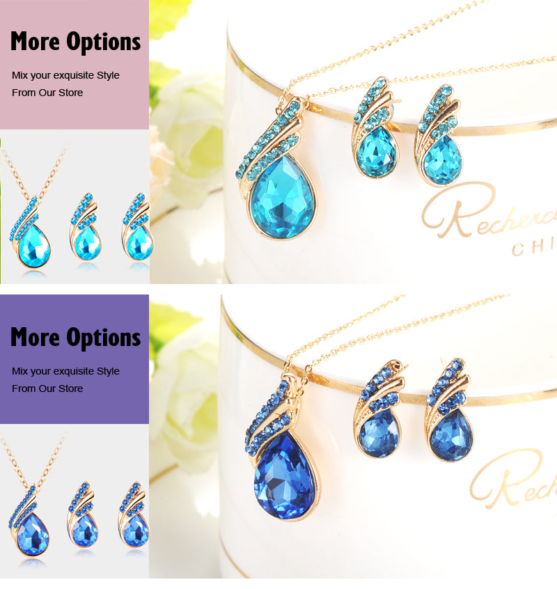 Austria Crystal Water Drop Gold/Silver Plated Earrings Necklaces Bridal Jewelry Set