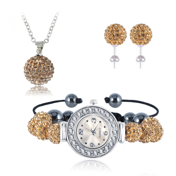 Watch, Earrings & Necklace Crystal Set