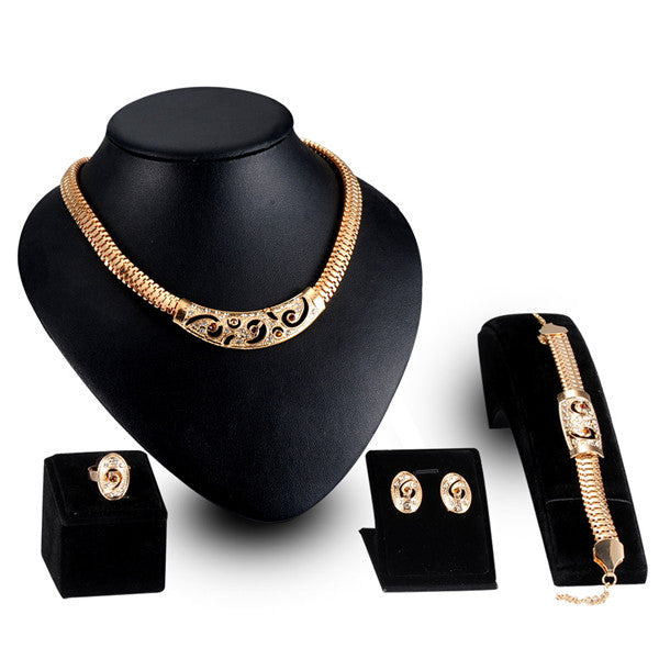 Ethnic Gold Plated Diamond Luxury Jewelry Set