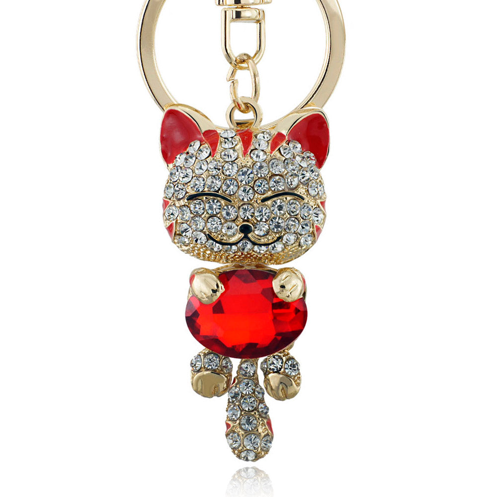 Lucky Smile Cat Crystal Rhinestone Key Chain Holder