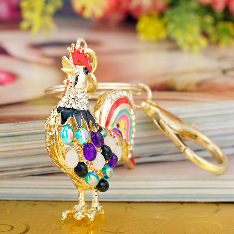 Crystal Chicken Key Chain Bag