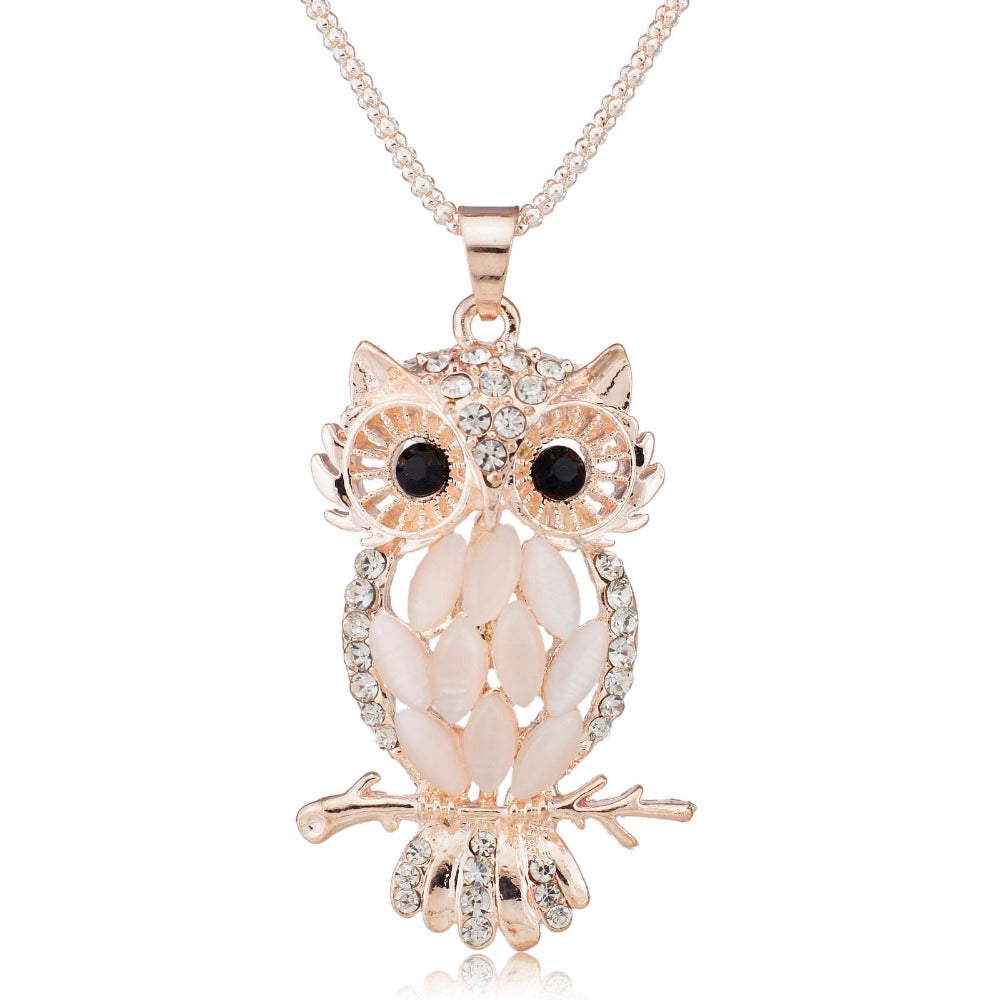 Stylish Gallant Sparkling Crystal Charming Flossy Owl Pendants Necklace