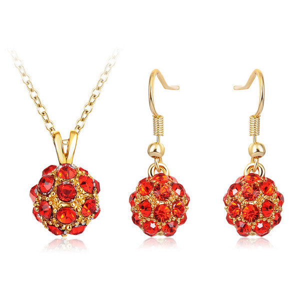 Gold/Silver Plated Rhinestone Ball Necklace Earrings Pendants Set