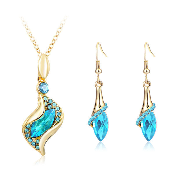 Elegant Luxury Design Rose Gold Plated Colorful Crystal Jewelry Sets