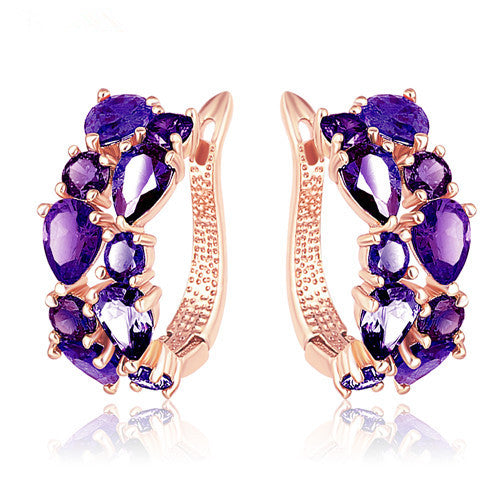 CZ Stone Hoop Earrings For Women