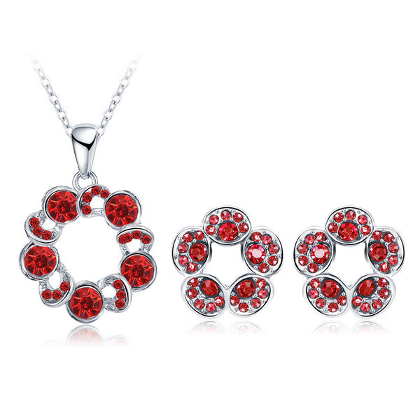 Gold /Silver Plated Filled Fashion Flower Crystal Necklace Earring Set