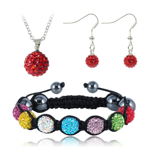 Pendant/Bracelet/Earring With Crystal Disco Balls Handmade Jewelry Set