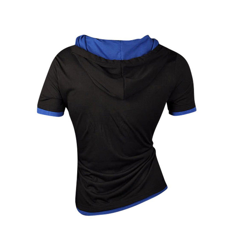 Short Sleeve Casual Solid Hoodie T-shirt