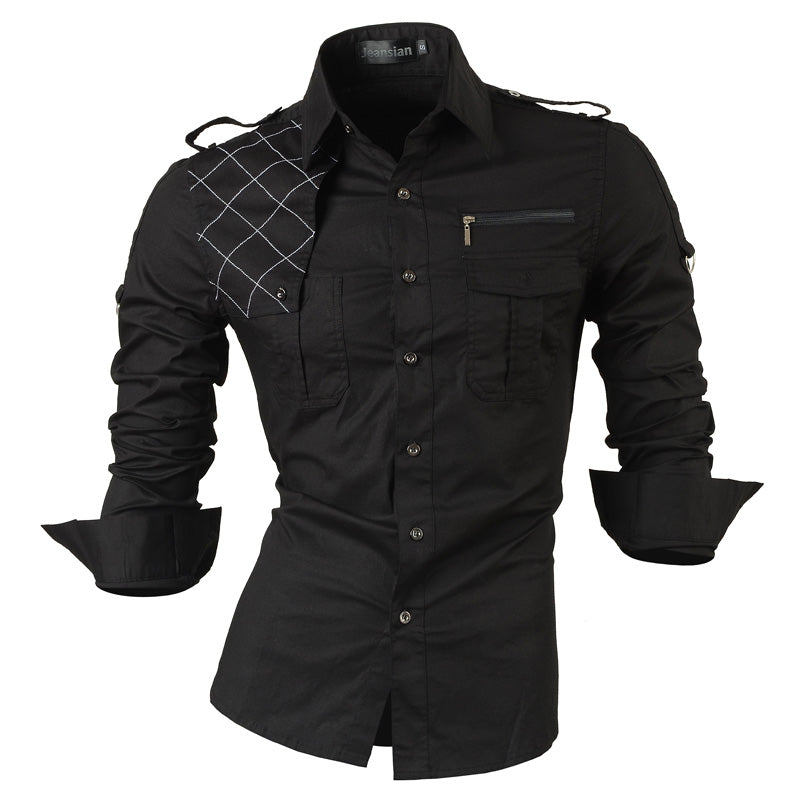 Fashion Casual Slim Fit Long-Sleeve Korean Style Shirt Korean