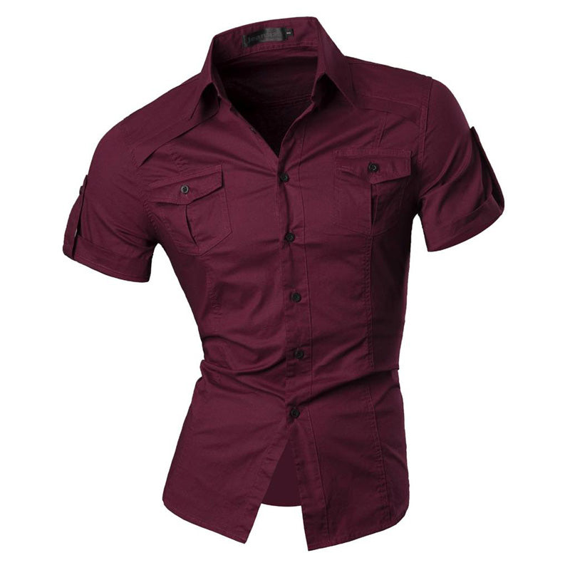 Short Sleeve Solid Color Slim Fit Shirt
