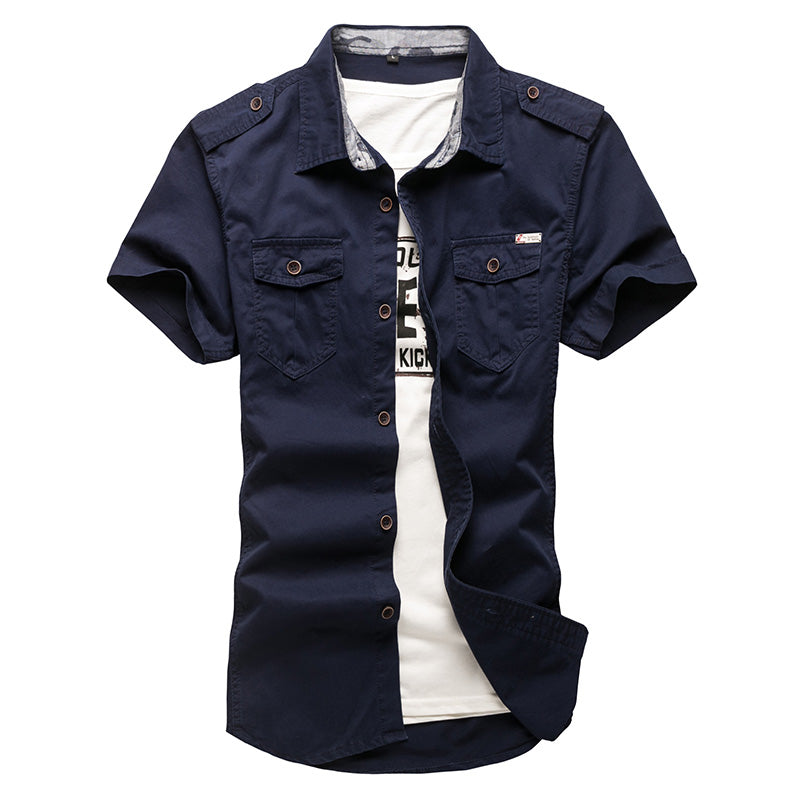 Short Sleeve Plus Size Military Uniform Loose Cotton-Padded Shirt