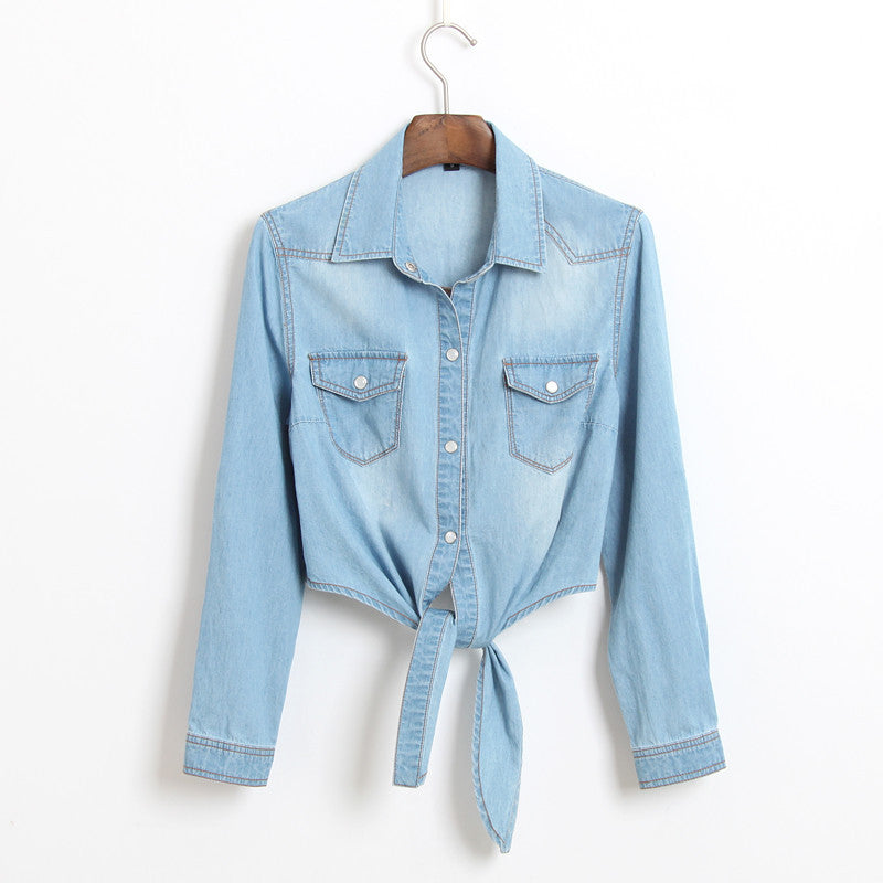 Long Sleeve Shawl Cotton Casual Jeans Shirt