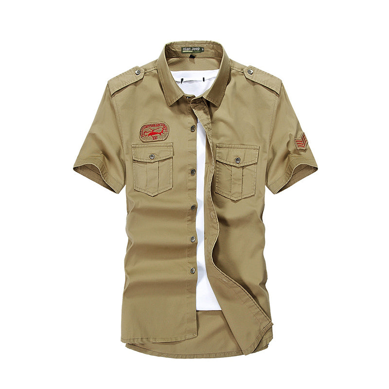 Cotton Short sleeve Plus Size Military Uniform Shirt