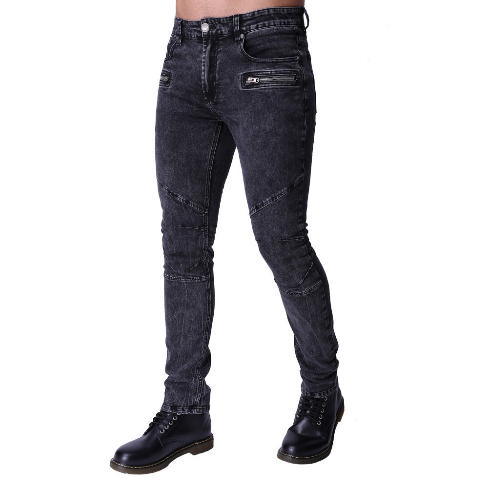 Washed Snow Grey Zipper Stretchy Jeans