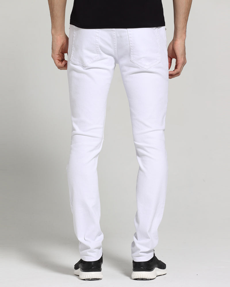 Slim Fit Casual Skinny Ripped White Jeans