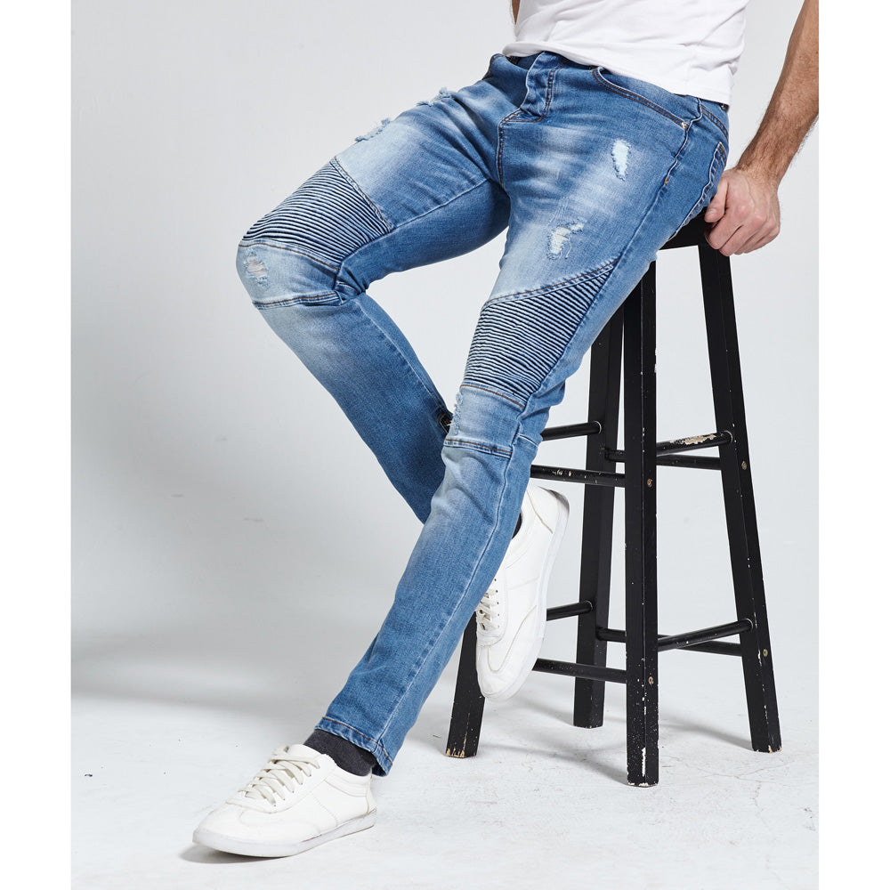 Zippers Design Stretch Ripped Fashion Jeans