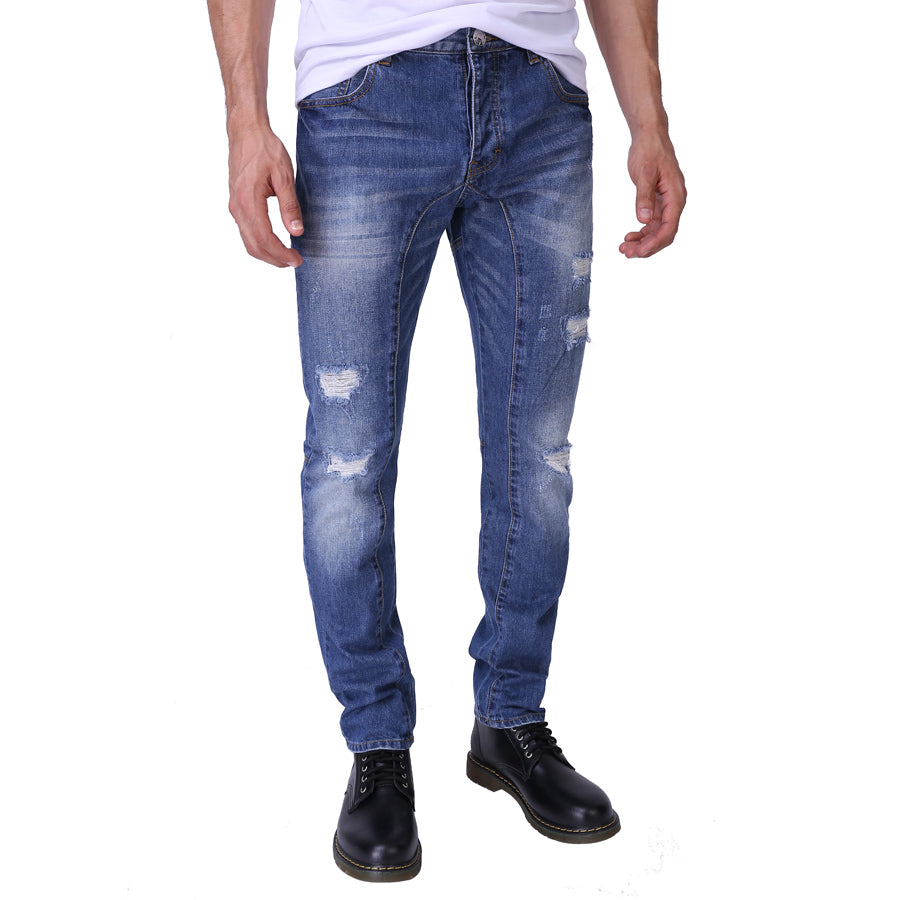 Slim Fit Ripped Denim Button Fly Jeans