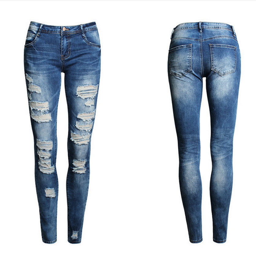 Ripped Casual Skinny Denim Hole Pencil Jeans