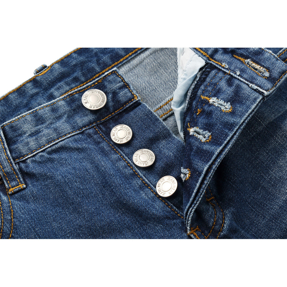 Button Fly Ripped Designer Brand Slim Pencil Denim Jeans
