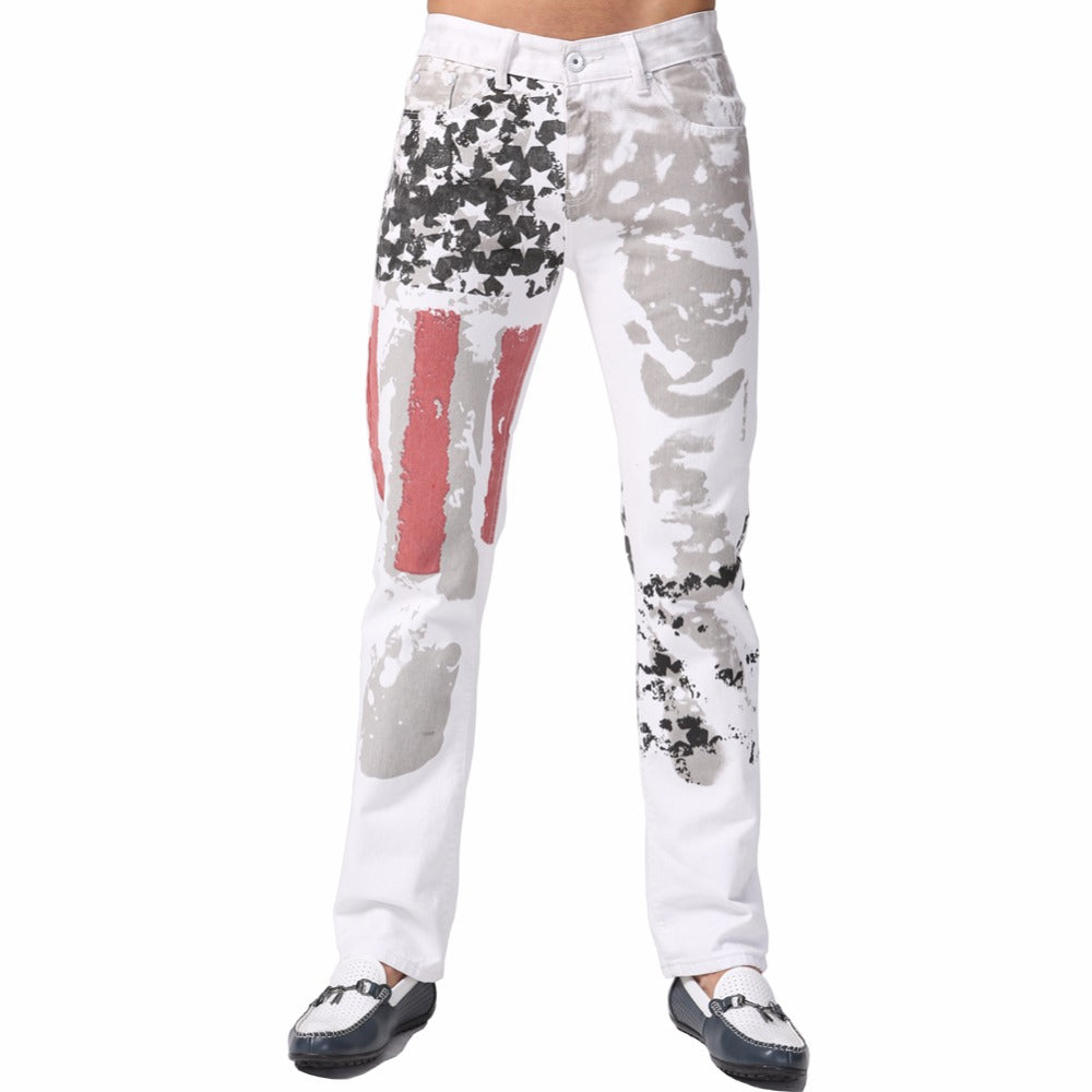 Floral Jeans Designer Casual Pencil USA Flag Straight Skinny Pants