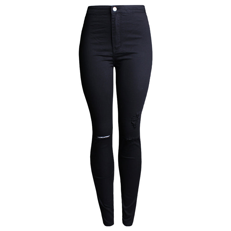 Ripped Stretch Hole Fashion Casual Denim Skinny Pencil Jeans