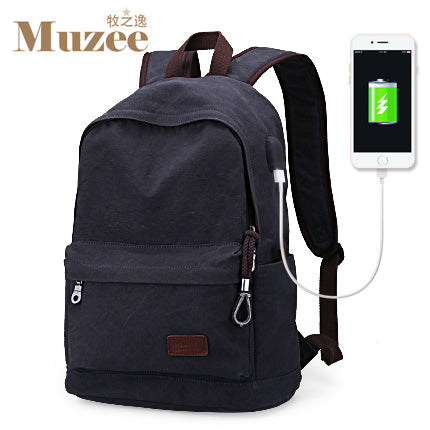 Unisex Vintage Mochila Casual Canvas College Travel USB Backpack