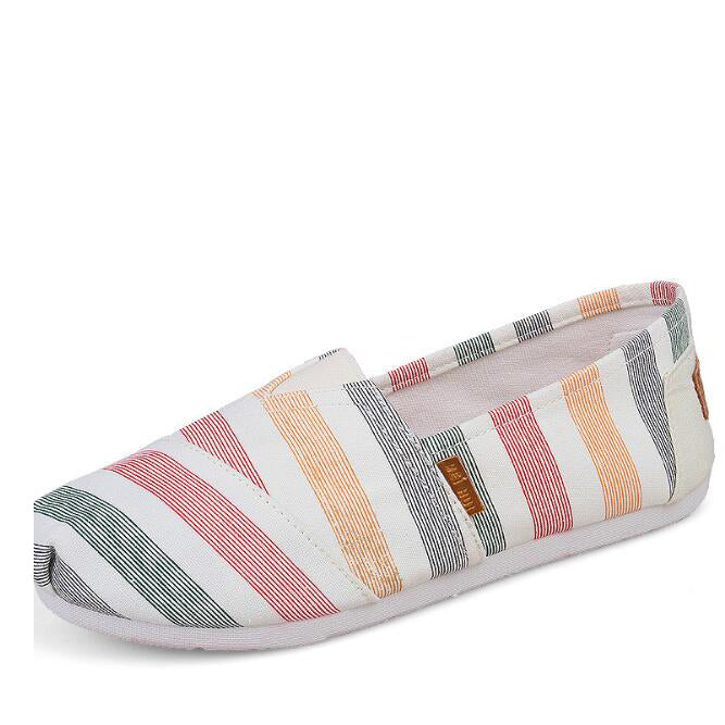 Slip-On Striped Flat Women Shoes