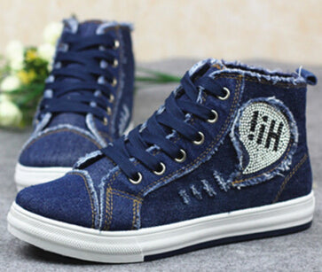 Denim High-Top Tide Flats Canvas shoes