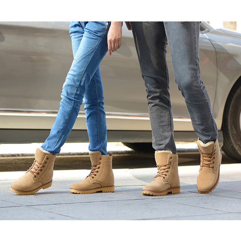 Casual Brand Warm Unisex Leather Plush Fur Boots