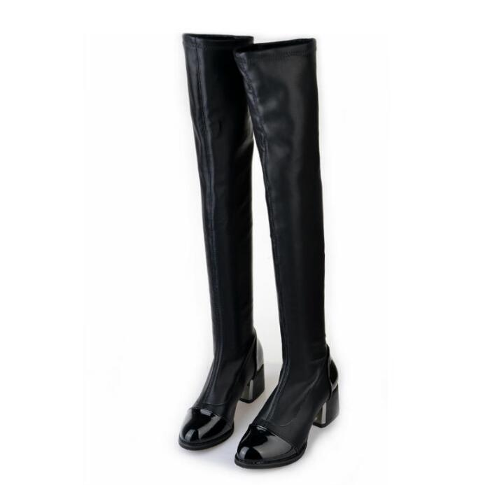 Black Tigh High Stretch Leather Boot