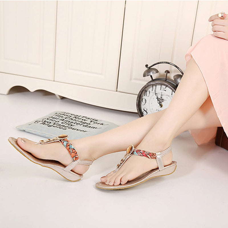 Slip-Sn Casual Ethnic Flower Wedges Sandals