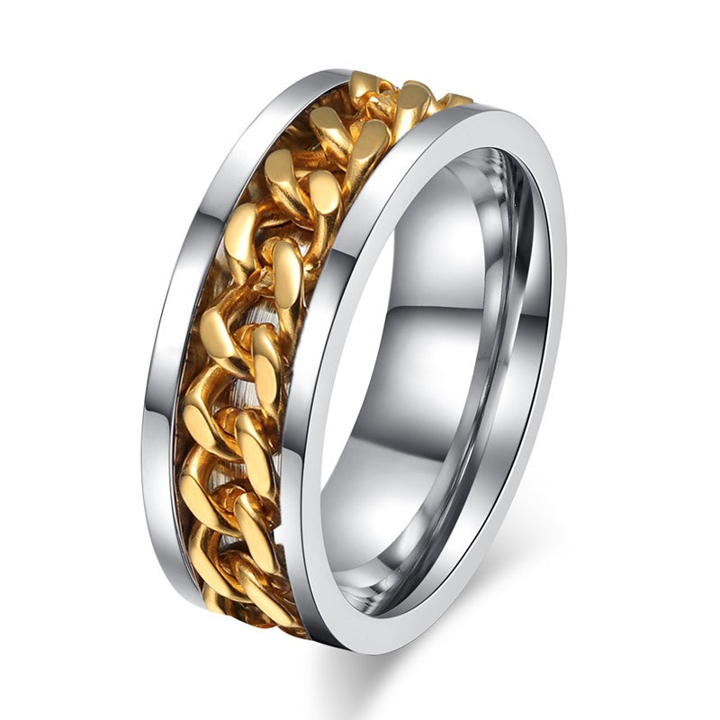 Spinner Chain Punk Titanium Ring