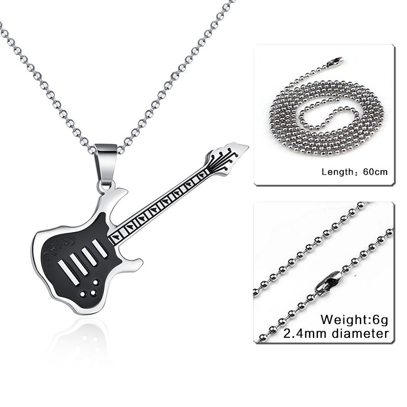 Trendy Guitar Stainless Steel Necklace