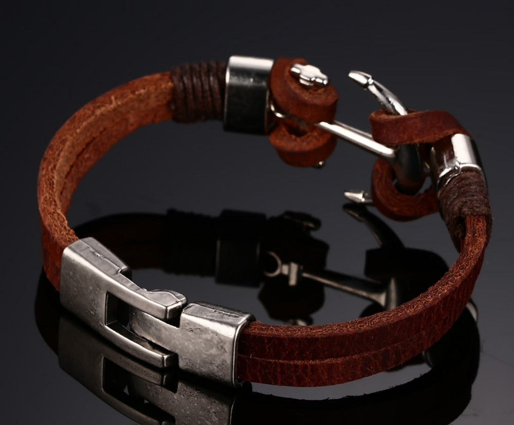 Brown Genuine Leather Charm Anchor Bracelet
