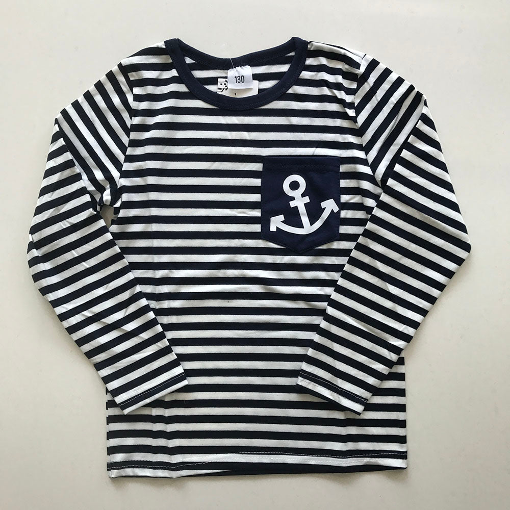 Navy Long Sleeve Pullover Striped Suit