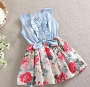 Ball Gown Mini Sleeveless Denim Flower Dress