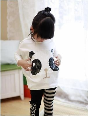 Panda Bat Sleeve Tops & Leggings Clothes Outfits