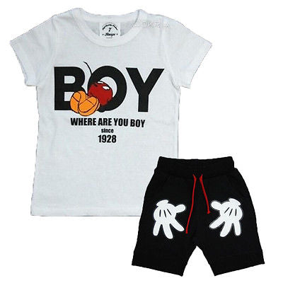 2PCS Toddler Boy Outfits T-shirt+Shorts Clothes Set
