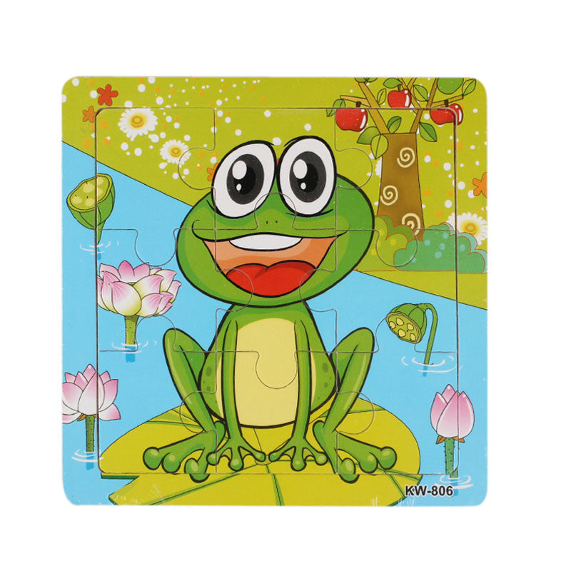 Animal Puzzle Frog Pattern Wooden Toy