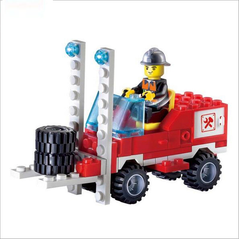 130Pcs Fire Fighting Truck DIY Model Building Blocks