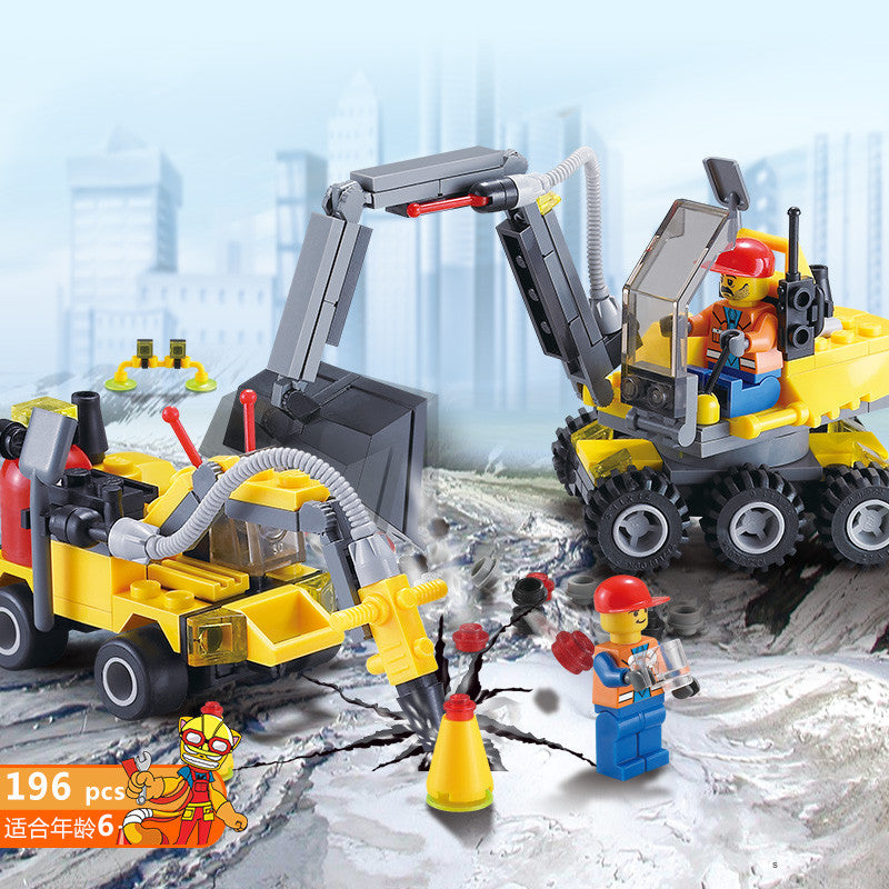 196pcs DIY City Engineering Team Assemble Building Blocks Early Educational Toy