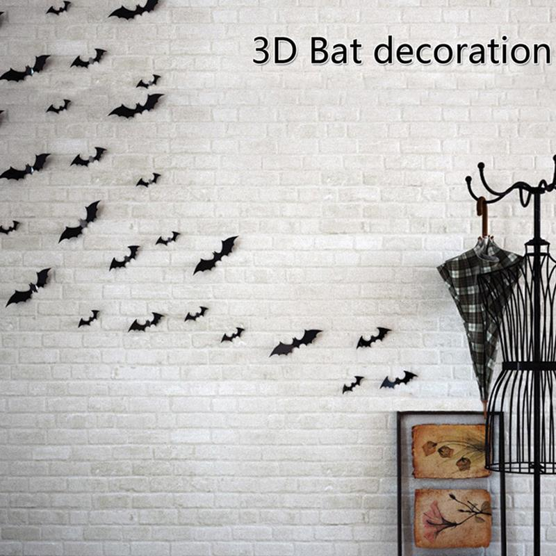 12 Pieces Black Attractive 3D Bat Sticker Removable Wall Sticker