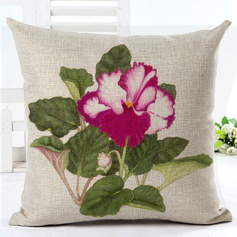 High Quality Cotton Linen Cushion Flower Cojines
