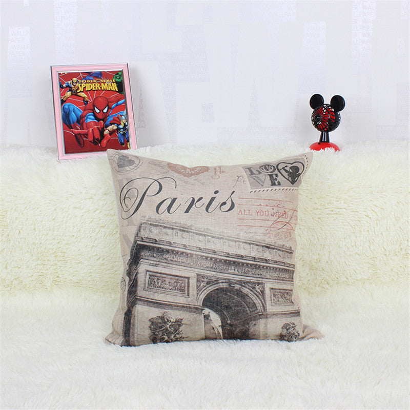 Paris Fashion Decorative Cushions Cotton Linen Throw Pillows