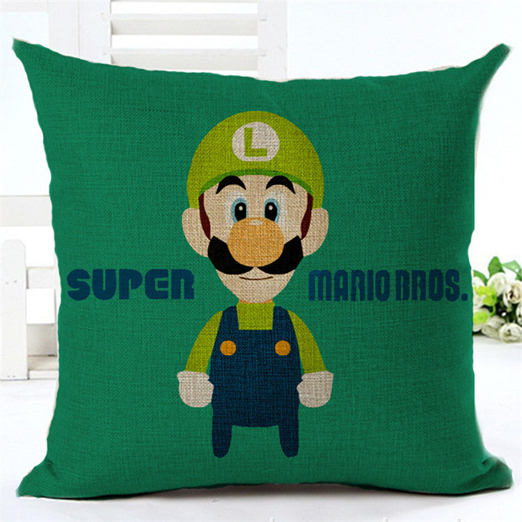 Super Mario & Mushroom Decorative Throw Cotton Pillow Linen Cushion