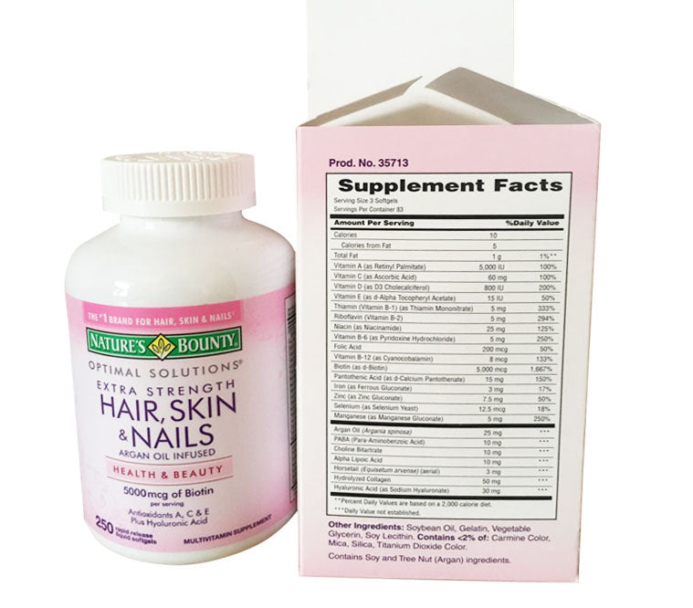 Optimal Solutions Hair Skin & Nails Argan Oil Infused 5000mcg of Biotin, 250 Softgels