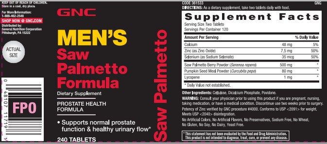 GNC Men's Saw Palmetto Formula 240 Tablets Supports Normal Prostate Function & Healthy Urinary Flow