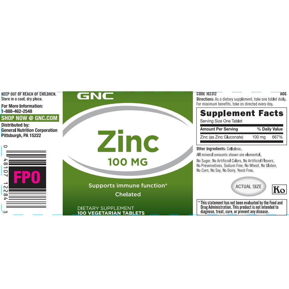 GNC Zinc 100MG 100 Vegetarian Tablets